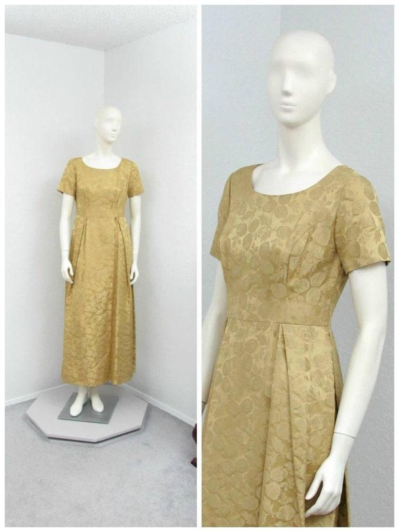 3fdc9267184bb Vintage 50s Gold Brocade Dress Maxi Dress Formal Dress