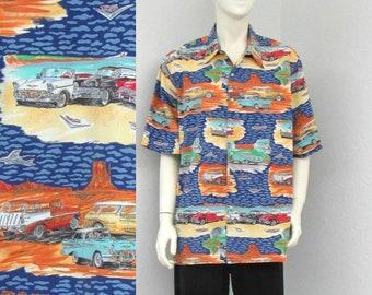 Vintage 90s Reyn Spooner Blue Hawaiian Shirt, 1950s Chevrolet Classic Car Print Shirt, Novelty Print Shirt, Aloha Shirt, Resort Wear