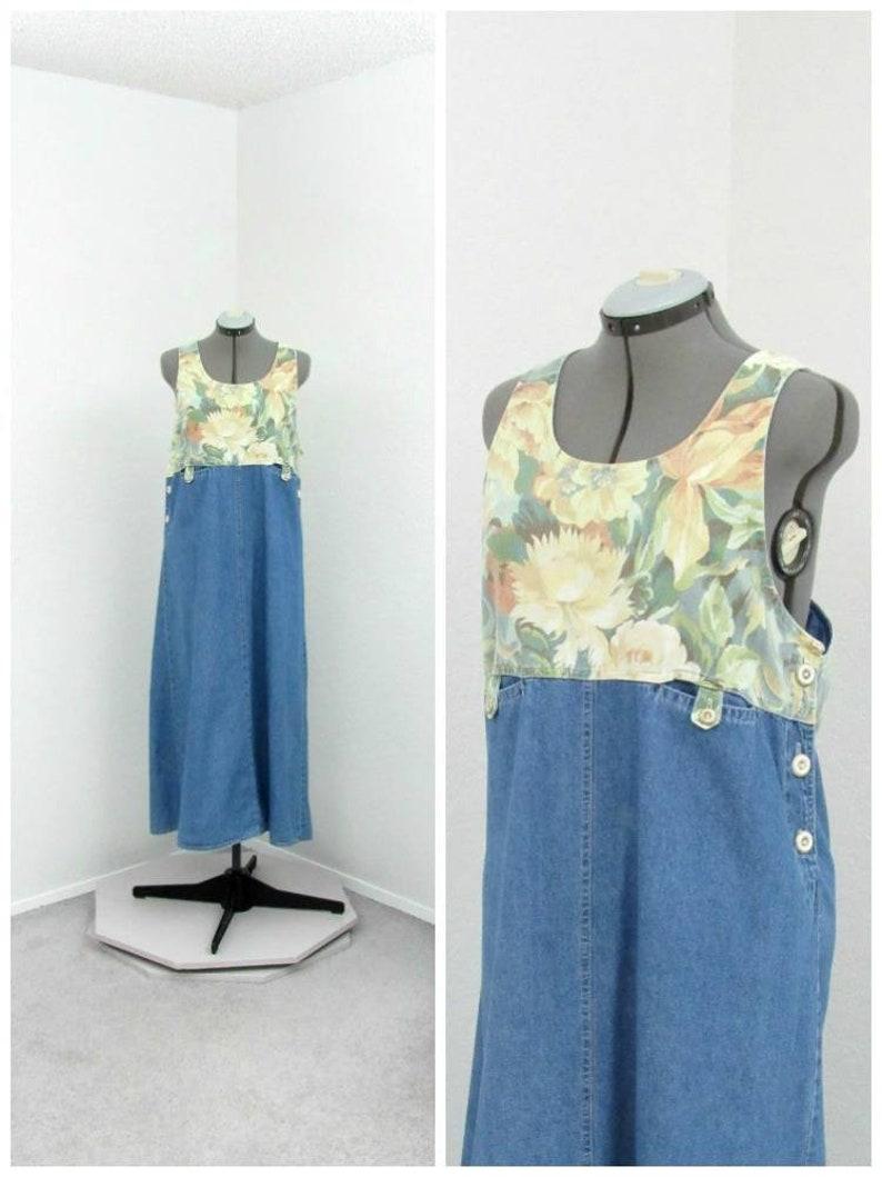 e4cec53f7d Vintage 90s Denim Jumper Dress Floral Jumper Overall Dress