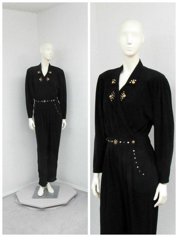 Vintage 80s Rio Black Jumpsuit, Studded Jumpsuit,