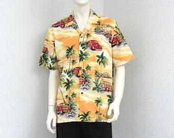 Vintage Pacific Legend Yellow Hawaiian Shirt, Woody Classic Car Print Shirt, Novelty Print Shirt, Aloha Shirt, Surf Shirt, Rockabilly Shirt