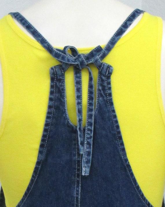 Vintage 90s Denim Short Overalls, Tie Back Overal… - image 7