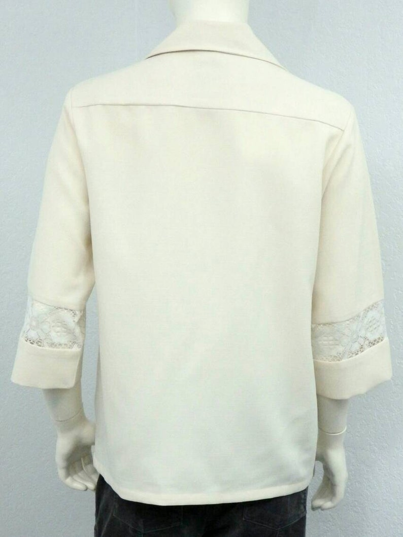 Vintage 70s Iolani Beau Tiki Hawaiian Wedding Shirt Tropical Shirt Lace Shirt Formal Shirt Cream Aloha Shirt Dress Shirt Size M