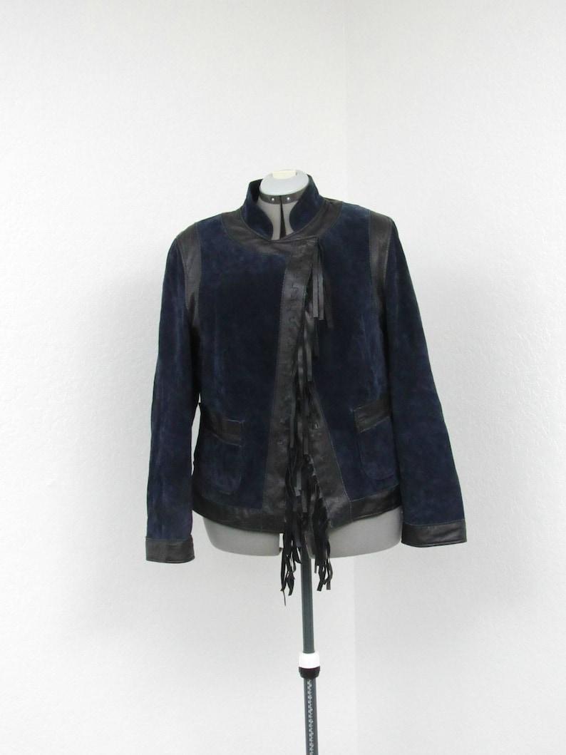 latest stable quality usa cheap sale Vintage 90s Pamela McCoy Plus Size Midnight Blue Fringe Suede Jacket,  Fringe Leather Jacket, Fringe Jacket, Mandarin Collar Oversized Jacket