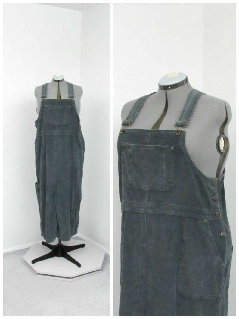 2248bab5660 Vintage 90s Plus Size Gray Green Corduroy Skirt Overalls
