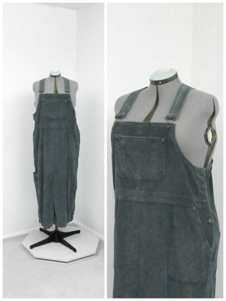 3a4e7377079 Vintage 90s Plus Size Gray Green Corduroy Skirt Overalls