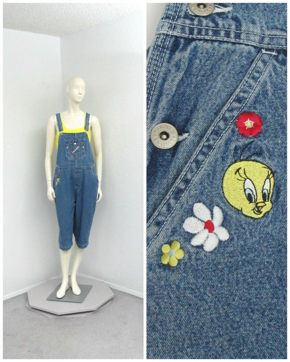 Vintage 2000 Looney Tunes Tweety Denim Overalls, C