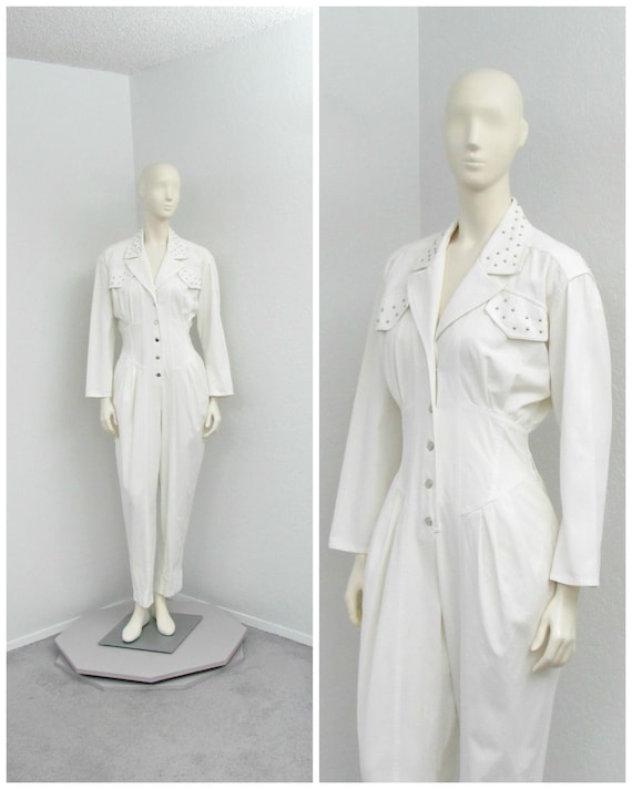 Vintage 80s White Jumpsuit, Studded Jumpsuit, Ones