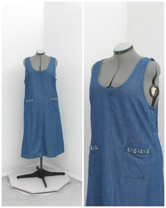 Vintage 90s Denim Jumper Dress, Jean Jumper, Denim