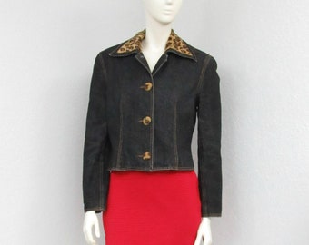 Vintage 90s Denim Jacket, Faux Fur Collar, Leopard Print Jacket, Jean Jacket, Cropped Jacket, Short Jacket, Womens Outerwear