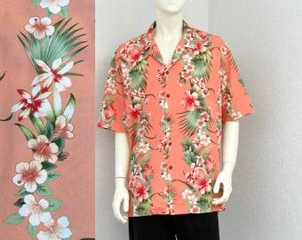 Vintage Pacific Legend Peach Pink Hawaiian Shirt, Floral Shirt, Aloha Shirt, Tropical Shirt, Surf Shirt, Resort Wear, Beach Shirt