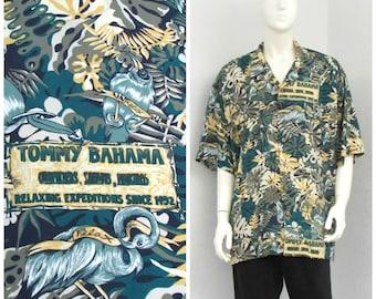 Vintage Tommy Bahama Green Rayon Hawaiian Shirt, Bird Print Shirt, Novelty Shirt, Aloha Shirt, Surf Shirt, Tropical Shirt, XXL