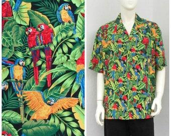 Vintage 80s Black Hawaiian Shirt, Cotton Parrot Print Shirt, Novelty Shirt, Aloha Shirt, Retro Shirt, Novelty Print Shirt