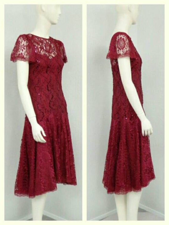 Vintage 80s Does 20s Maroon Sequin Dress, Lace Dr… - image 4