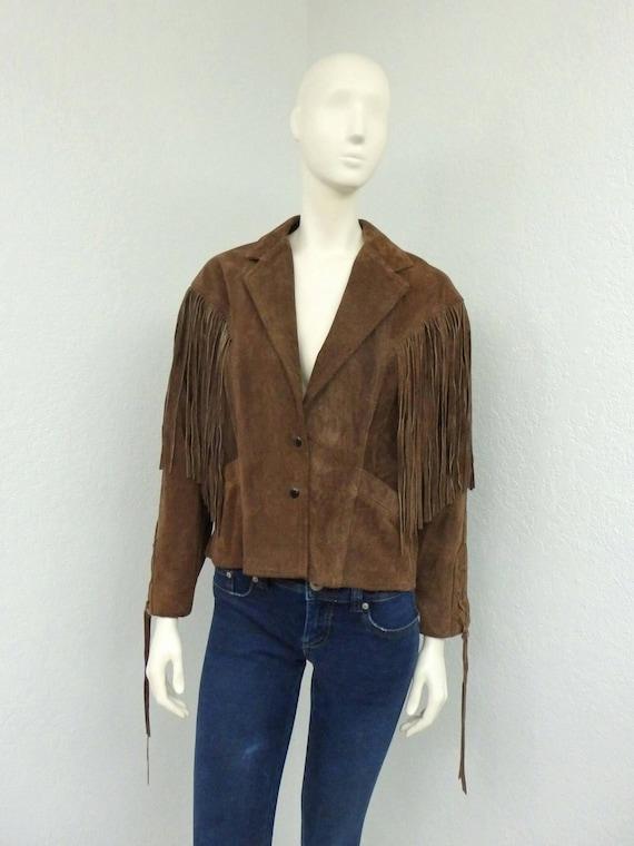 Vintage 80s Schott Brown Suede Western Jacket, Fri