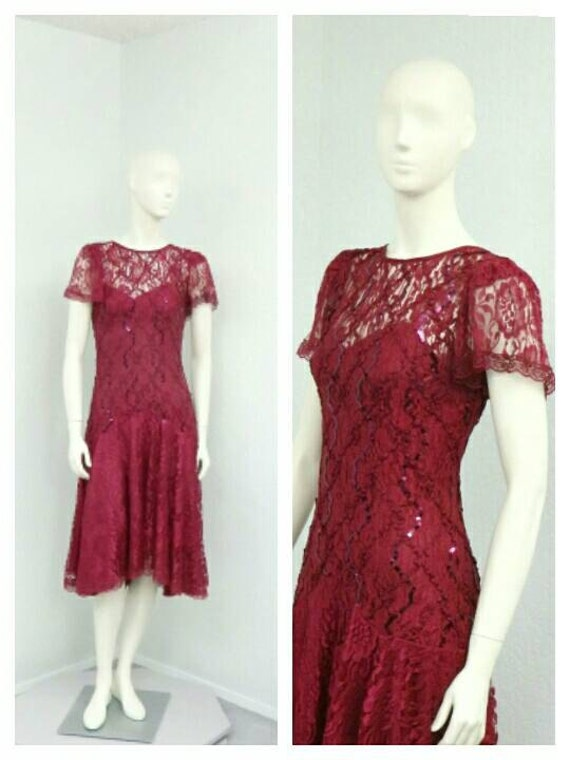 Vintage 80s Does 20s Maroon Sequin Dress, Lace Dr… - image 1