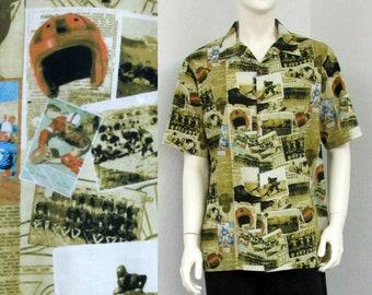 Vintage 90s Hawaiian Shirt, Football Shirt, Football Print Shirt, Novelty Shirt, Football Player Gift, Football Fan Shirt, Size L