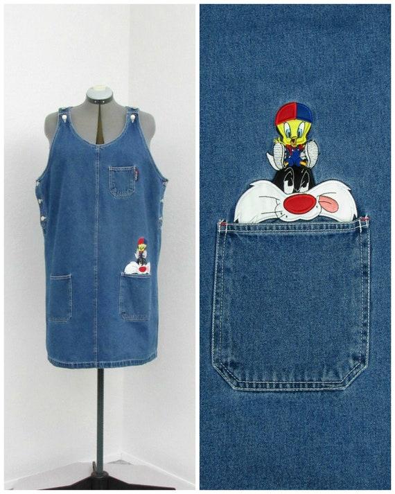 Vintage 90s Plus Size Looney Tunes Denim Jumper Dr