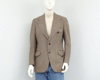 Vintage 60s Brown Tweed Blazer Jacket, Tweed Sport Coat, Mens Blazer, Suit Jacket, Leather Button Blazer, Retro Blazer