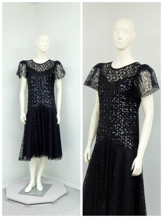 Vintage 80s does 20s Black Lace Dress, Sequin Dres