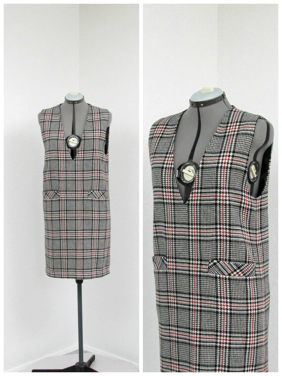 Vintage 90s Black and White Plaid Jumper Dress, Wo
