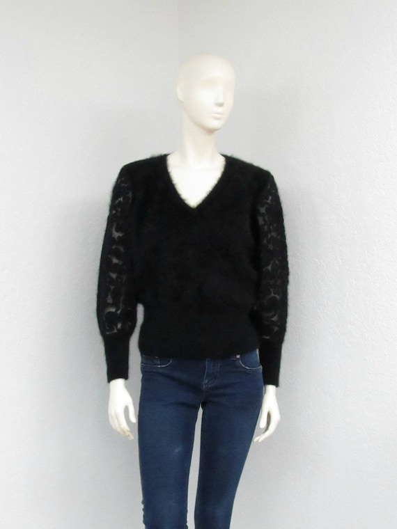 Vintage 80s Black Angora Sweater, Fuzzy Sweater, E