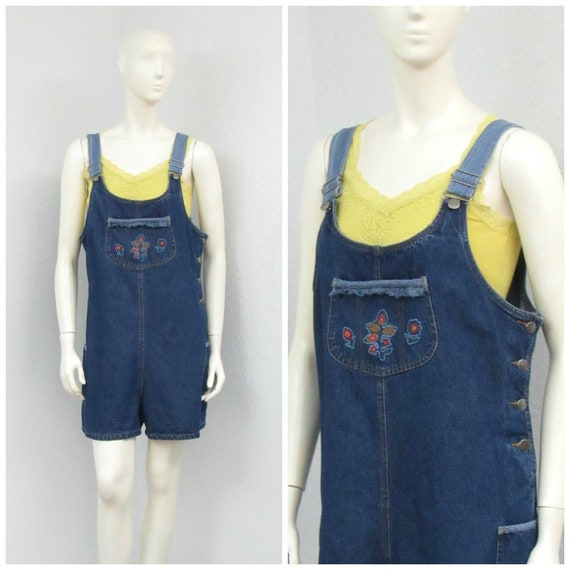 Vintage 90s Denim Overall Shorts, Embroidered Shor