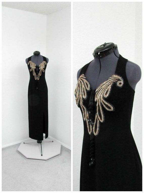 Vintage 80s Alyce Designs Petite Black Halter Dres
