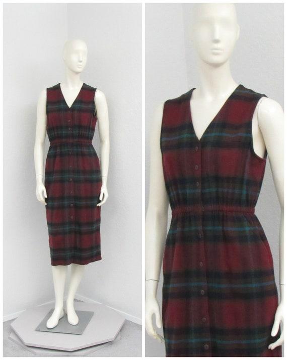 Vintage 90s Eddie Bauer Cotton Flannel Dress, Jump