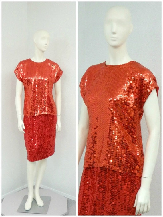 Vintage 90s Red Silk Sequin Skirt Set, Two Piece S