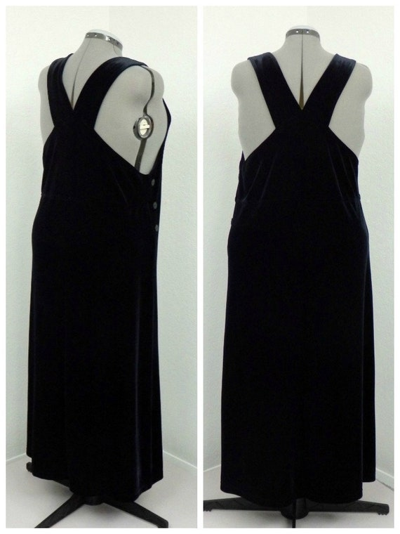 Vintage 90s Plus Size Black Velvet Jumper Dress Overall | Etsy