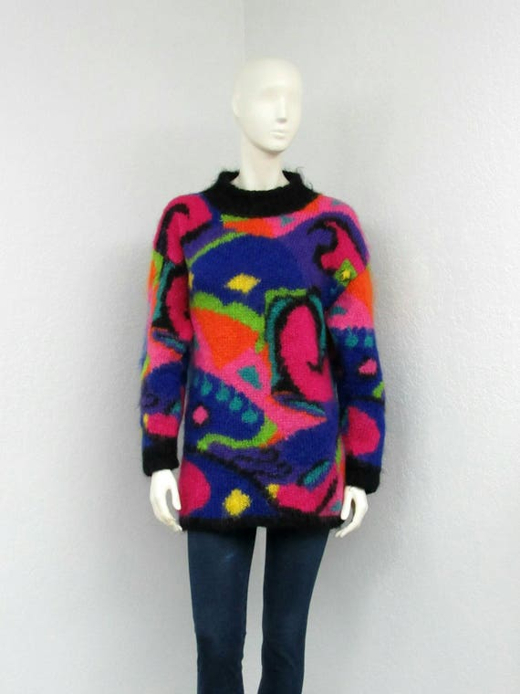 Vintage 80s Colorful Mohair Sweater, Geometric Swe