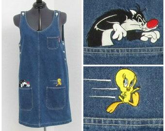 Vintage 90s Looney Tunes Denim Jumper Dress, Sylvester Tweety Jumper, Denim Dress, Overall Dress, Overall Jumper, Skirt Overalls