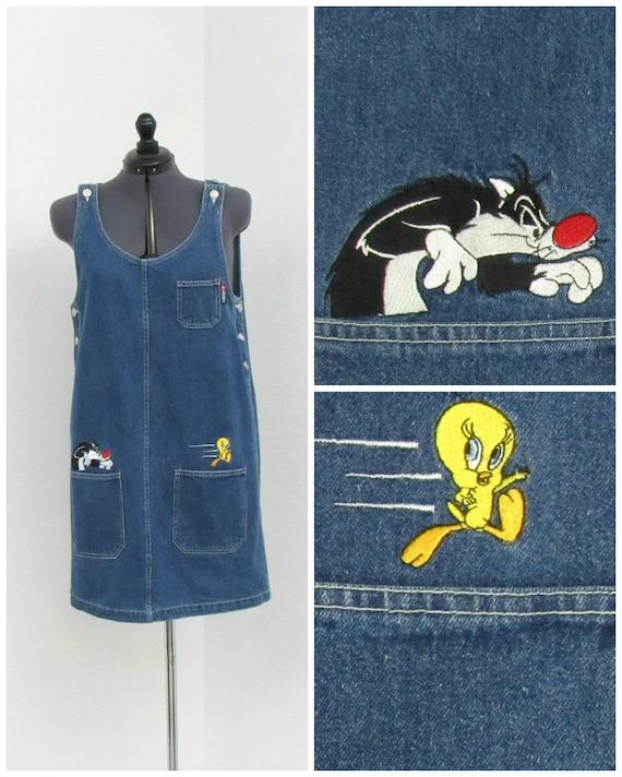 Vintage 90s Looney Tunes Denim Jumper Dress, Sylve