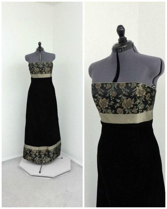 Vintage 90s Jessica McClintock Black Velvet Dress,