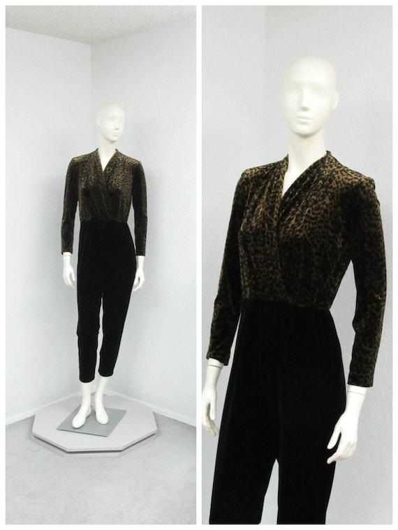 Vintage 90s Petite Leopard Print Velvet Jumpsuit,