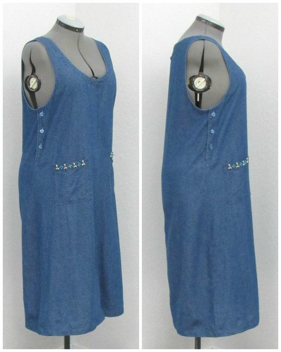 Vintage 90s Denim Jumper Dress, Jean Jumper, Deni… - image 4