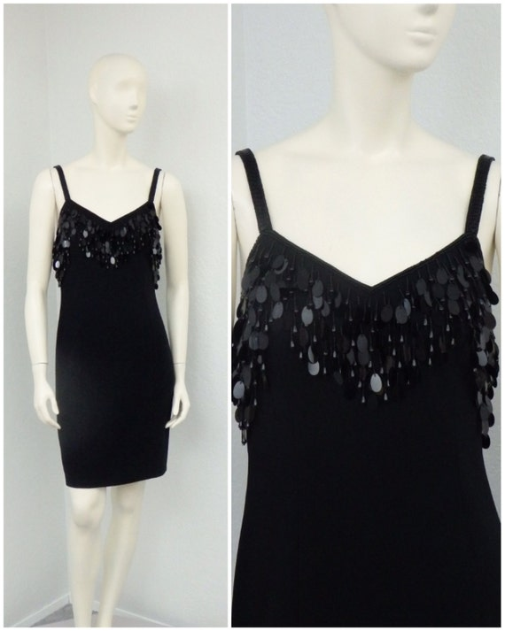 Vintage 80s Black Beaded Fringe Party Dress, Sequi