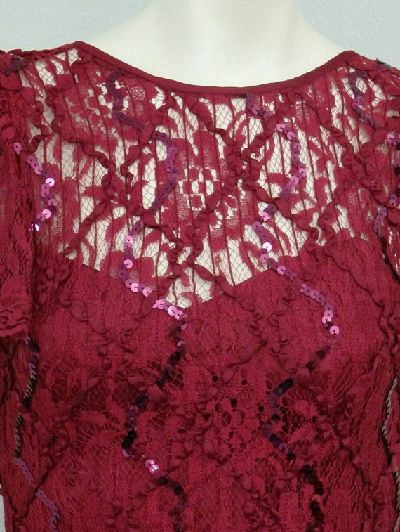 Vintage 80s Does 20s Maroon Sequin Dress, Lace Dr… - image 3
