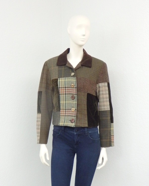 Vintage 90s Brown Wool Patchwork Jacket Cropped Jacket ...