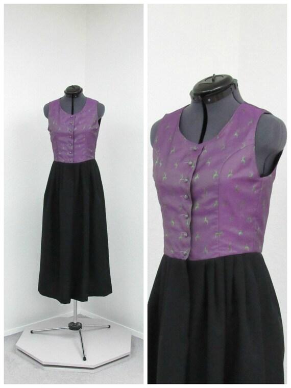 Vintage Purple and Black Dirndl Dress, German Dres