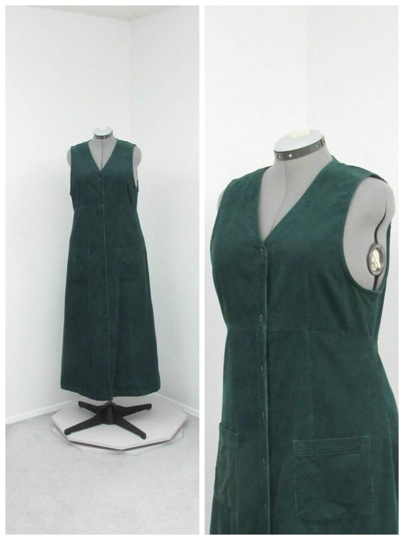 Vintage 90s Eddie Bauer Dark Green Corduroy Jumper Dress  af6ec30dd89e3