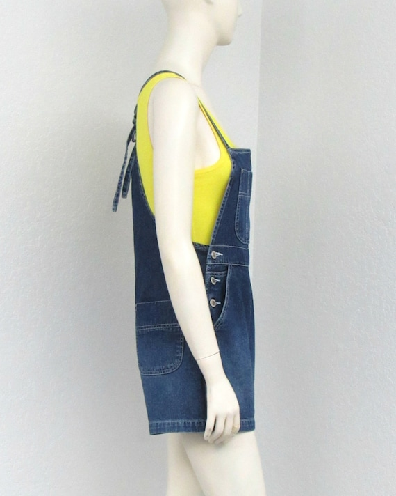 Vintage 90s Denim Short Overalls, Tie Back Overal… - image 5