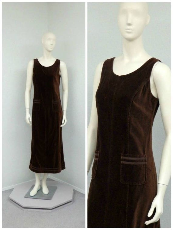 Vintage 90s Laura Ashley Dark Brown Velvet Dress,