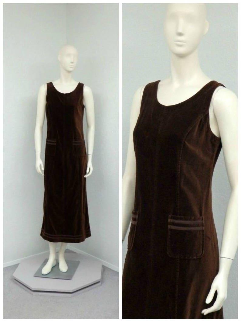 Overall Dress Maxi Dress Jumper Dress Vintage 90s Laura Ashley Dark Brown Velvet Dress Overall Jumper Shift Dress Velvet Jumper