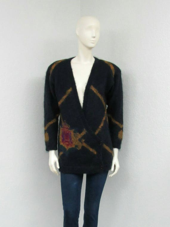 Vintage 80s Midnight Blue Cardigan Sweater, Mohair