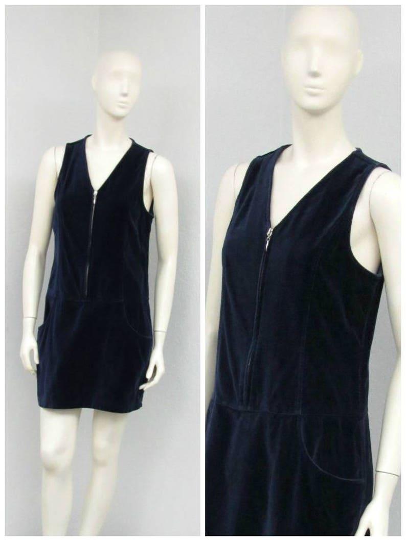 536c45358f6f Vintage 90s Dark Blue Velvet Jumper Dress Midnight Blue Mod   Etsy