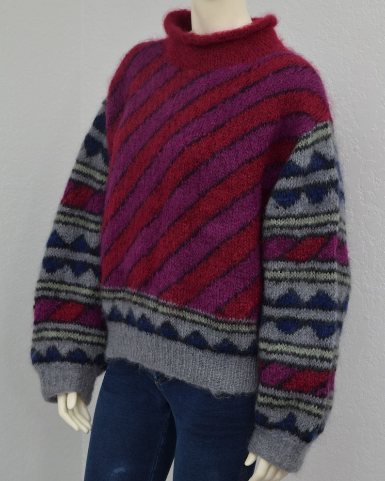 Bulky Sweater Striped Geometric Print Huge Bishop Sleeves Vintage 80s Colorful Mohair Chunky Hand Knit Oversized Sweater