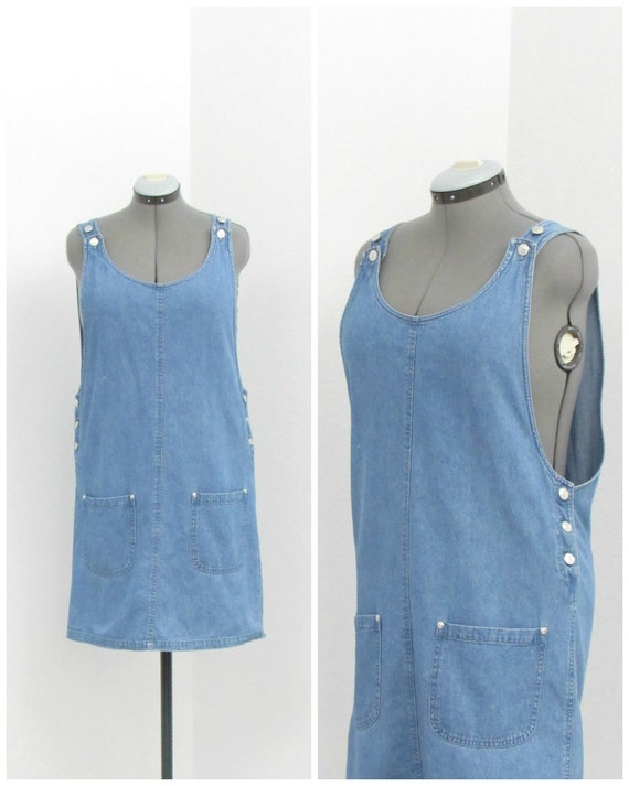 Vintage 90s Denim Jumper Dress, Overall Dress, Ove