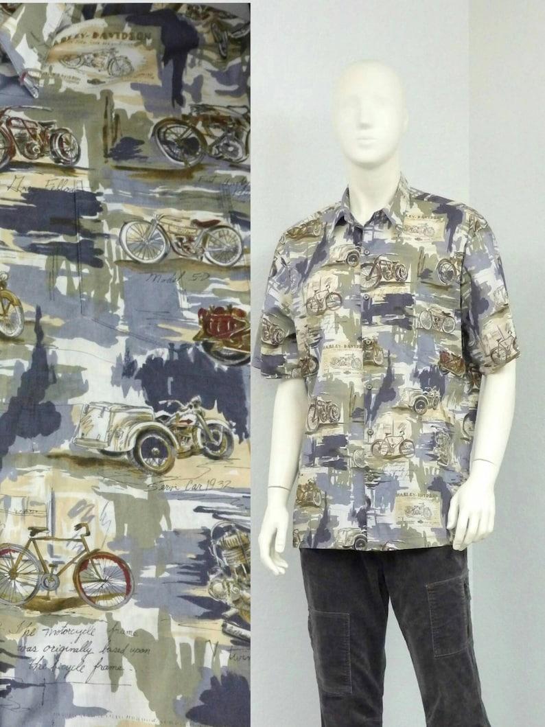 b61772440b2 Vintage 80s Harley Davidson Hawaiian Shirt, Motorcycle Shirt, Novelty Print  Shirt, Aloha Shirt, Biker Shirt, Resort Wear, Size L